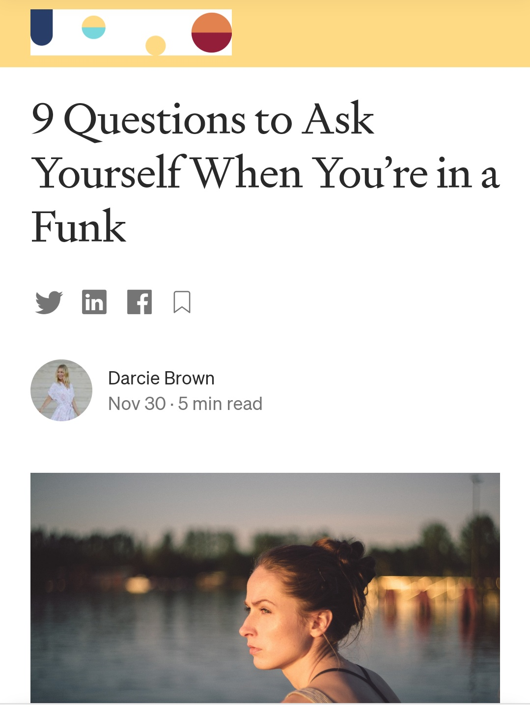 9 Questions to Ask Yourself When You're In a Funk - Darcie Brown, LMFT on Curio