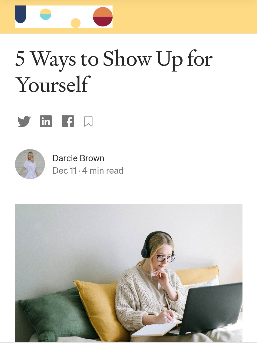 5 Ways to Show Up for Yourself - Darcie Brown, LMFT on Curio