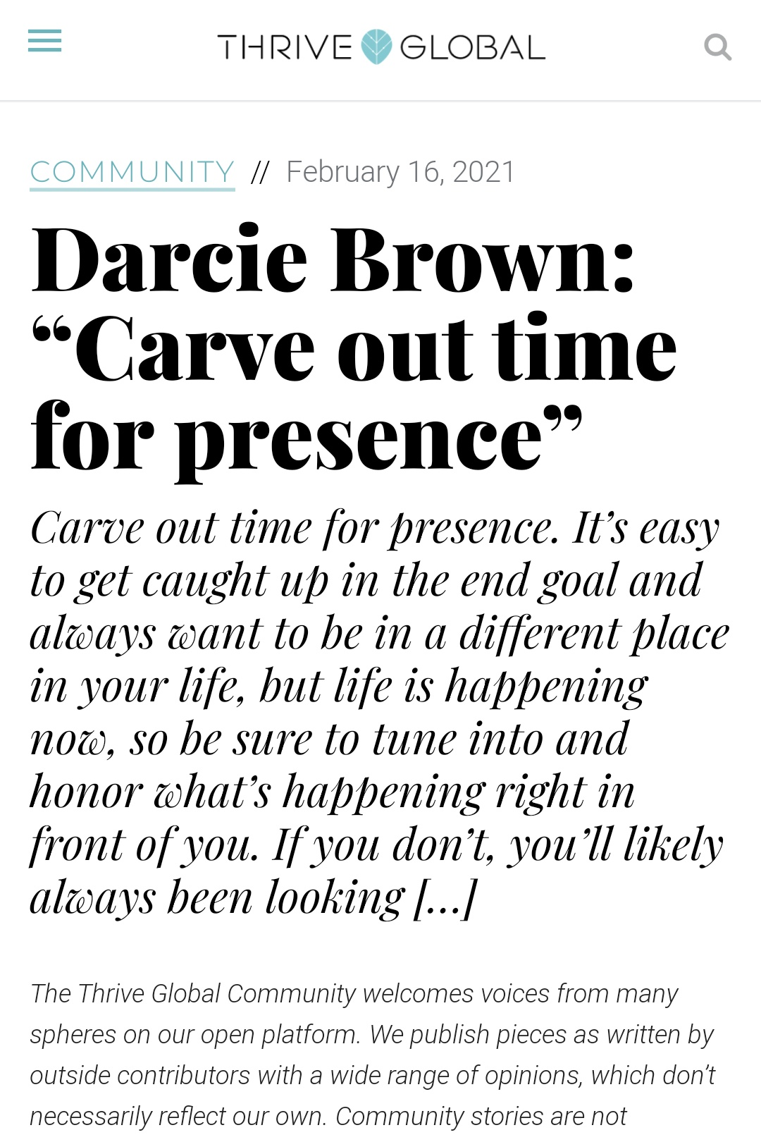 Carve out time for presence