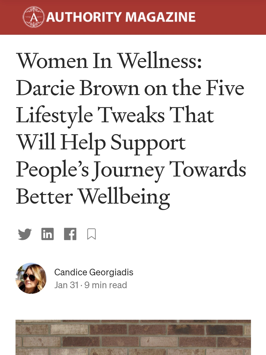 Women in Wellness - Darcie Brown, LMFT for Thrive Global